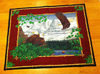 NEW Hand Quilted Fabric Panel Scenic Mountain Bald Eagles Birds 43