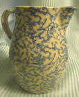 Stoneware Spongeware Pitcher Ovoid Tankard White and Blue Sponging Marked Signed