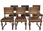 Set Of 6 Antique French DINING CHAIRS * LEATHER / OAK / BRASS 1940s France