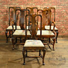 Antique Set of Six Dining Chairs, Victorian 'Queen Anne' Style English Oak c1890
