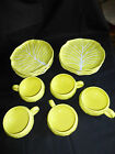 Vintage Secla Portugal Majolica Yellow Cabbage Leaf 5 Mugs 8 Saucers / Plates