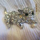 Vintage Pell Rhinestone Cat Clear Bag. Faux Pearl Silver-tone Brooch Pin Jewelry