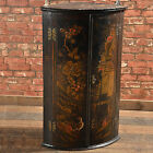 Antique Chinese Painted Corner Cabinet, Bow Front, Cupboard, Ebonised c.1850