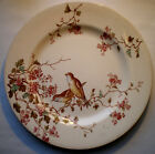 French Art Nouveau Majolica Plate signed Luneville: Bird Warblers and flowers