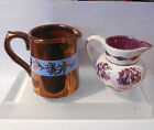 COPPER LUSTER  PINK LUSTER  CREAMER  PITCHER ENGLAND GIBSON OLD CASTLE ANTIUQUE
