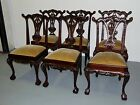 6 Vtg Traditional Chippendale Style Carved Solid Mahogany Dining Side Chairs
