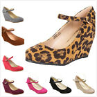 Brand New Womens Fashion Round Toe Mary Jane High Heel Wedge Pumps Shoes