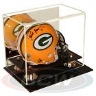 (1) BCW Deluxe Acrylic Mini Helmet Display Case With Gold Risers Mirror Back NEW