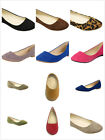 Brand New Womens Fashion Slip On Rounded Toe Ballet Flat Shoes Faux Suede