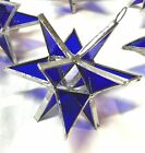 Lot of 25  Stained Glass Moravian COBALT BLUE STARS Ornament  FIESTA COLOR