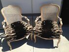 TWO CANE BACK BERGERE CHAIRS ZEBRA UPHOLSTERED SEAT BLEACHED WOOD-FABULOUS!