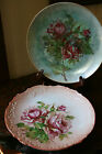 Pair of Vintage Chic French Country Cottage Hand Painted Roses Porcelain Plates