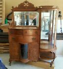Vintage Antique Oak China Cabinet/Secretary Unusual 4 Sides Curved Round Glass