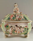 Capodimonte Vintage Hand-Painted Covered Footed Cherub Bowl italy