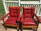 Antique Vintage Mission Craftsman Red Leather Wood Set 2 Morris Ohio Estate L@@k