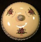 Home Sweet Home Stoneware Sponge Ware Covered PIE PLATE Keeper Country Kitchen