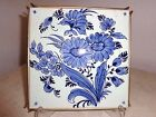 Brass Trivet Stand Hand Painted Flowers Blue White Tile 6x6 H mark Delft style