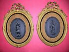 2  French Sevres 19th Century Jasper Plaques with Dore bronze Frames