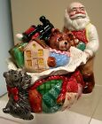 VTG HAND PAINTED  FITZ & FLOYD  NUTCRACKER SWEETS QUILTED SANTA TOYS  JAR RARE