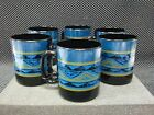 SET OF 6 - ARCOROC FRANCE YUCATAN - 10 oz COFFEE MUGS - AZTEC BLUE BLACK