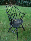 1700s Antique Sack Back Windsor Armchair in Old Black Paint New York Influence