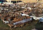 LOT OF 10 ANTIQUE INDUSTRIAL RAILROAD FACTORY CARTS VTG STEAMPUNK COFFEE TABLE