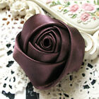 Large Soft satin rose flower sewing applique wedding Brown 75mm 1PCS (7-13-79)