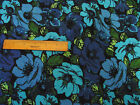 RETRO PENELOPE LARGE FLORAL SHADES BLUE & GREEN COTTON QUILT FABRIC BTY