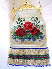 Antique Micro Beaded Floral Design Purse Long Thick Fringe Whiting Davis Frame