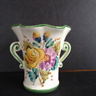 Vintage FTD Ceramic Porcelain Hand Painted Floral Vase 5.5'' Tall Made in Italy