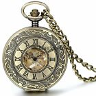 Vintage Roman Numerals Dial Skeleton Hand Wind Mechanical Pocket Watch Chain New