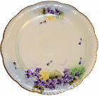 Nippon Porcelain Plate Hand Painted Purple Flowers Scalloped Edge Signed Te Oh