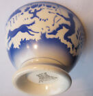 Very RARE French Majolica bowl blue and white signed GIEN: Hunting DEER