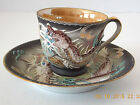 VINTAGE JAPAN HAND PAINTED LUSTER MORIAGE DRAGONWARE DEMITASSE CUP SAUCER