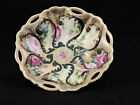 ANTIQUE OLD Maple Leaf Nippon ROSE FLORAL GOLD BEADED SCALLOPED CANDY DISH BOWL