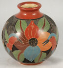 Ceramic Vase Nicaraguan/Central America Hand Etched Hand Painted Collectible