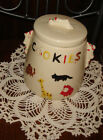 VTG ESTATE UNUSED ANIMALS COLD PAINTED COOKIE BISCUIT CANISTER TREAT SNACK JAR