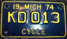 Vintage Rare Old 1974 MICHIGAN Motorcycle Scooter License Plate Biker Harley EUC