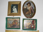 Small Vintage Pictures of Trolley and Little Girls in oval metal frame