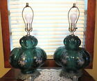 2 Large Vintage Green Bubble Glass Table Lamps Bottom Glass Light