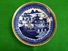 19th Century English Porcelain Saucer Blue Hand Painted Chinoiserie Scene