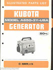 KUBOTA GENERATOR ILLUSTRATED PARTS LIST MANUAL MODEL A650-3Y-US 60Hz 1985
