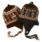 #2995Chullo Peru Ski Hat Alpaca Wool Winter Hand Knit Beanie Mountain Fair Trade