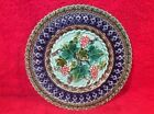 Antique German Majolica Wine Leaves & Grapes Plate c1800's, gm909
