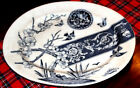 BLUE TRANSFERWARE PLATTER WITH BIRDS GREAT SHAPE  13 X 16 LARGE
