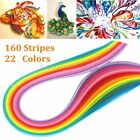 160 Stripes 22 Color Quilling Paper 3mm390mm Mixed Origami Papercraft DIY Craft