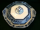 ANTIQUE 1900'S BURGESS LEIGH BURLEIGH WARE FLOW BLUE COVERED VEGETABLE DISH BOWL