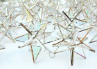 Lot of 25  Stained Glass Moravian STARS Iridescent CLEAR Ornament  Handmade
