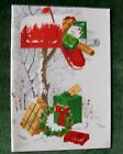 Vintage Christmas Mid Century Card - Gifts Stuffed in Mailbox w/ Snow