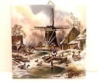 Vintage Royal Mosa Tile Windmill Girl Feeding Geese Holland hand painted signed